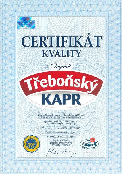 Certifikát kvality - Třeboňský kapr